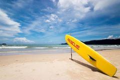 Lifeguard surf rescue surfboard on the beach at rescue point Stock Photography