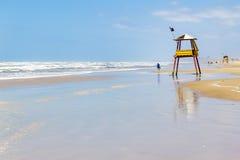 Lifeguard towe and waves and blue sky at Balnearios de Gaivota b Royalty Free Stock Photos