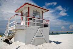 Lifeguard Tower. With sign displaying lifeguard on duty on white sandy beach with brilliant blue sky Royalty Free Stock Images