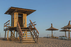 Lifeguard tower on the beach. In the morning Stock Image