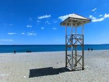 Lifeguard tower on the beach. Mediterranean sea. Antalya, Turkey stock photo