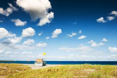 Lifeguard tower on the beach in Noordwijk, Netherlands. Travel and vacation stock images
