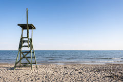 Lifeguard tower in the beach. Stock Photo