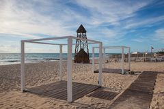 The lifeguard tower on the beach Playa Paraiso at Caribbean Sea. Of Mexico. This resort area is popular destination with the most beautiful beaches Stock Images
