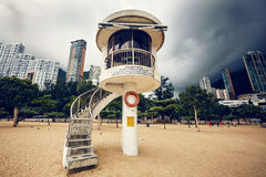 Lifeguard tower on beach Royalty Free Stock Images