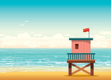Lifeguard tower on a beach. Summer illustration. Stock Photography