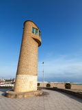 Lifeguard tower on the beach in Tangier, Morocco Royalty Free Stock Images