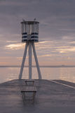 The lifeguard tower at Bellevue beach. During a summer sunrise Stock Photo