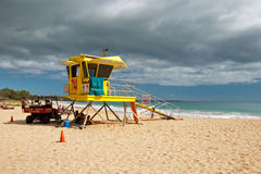 Lifeguard tower on Big beach Maui Hawaii Royalty Free Stock Photography