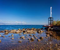 Lifeguard tower and boat in Reggio Calabria near the beach Royalty Free Stock Photo