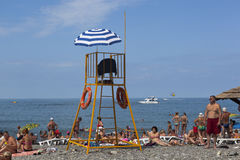 Lifeguard tower on the central beach resort Lazarevskoe, Sochi Royalty Free Stock Image