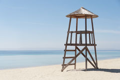 Lifeguard tower on empty beach Royalty Free Stock Images