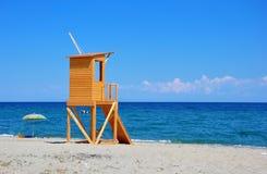 Lifeguard tower. On the empty beach,Greece Stock Photos