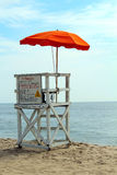 Lifeguard Tower. An empty lifeguard tower overlooking the ocean at the beach royalty free stock images