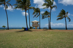 Lifeguard tower in Haleiwa, Oahu. A view of a Lifeguard tower in Haleiwa, Oahu, Hawaii Stock Photo