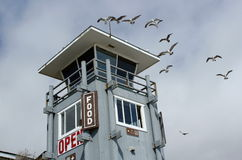 Lifeguard Tower. With incoming seaguls stock photo