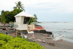 Lifeguard tower on Kona beach on Hawaii Stock Photos