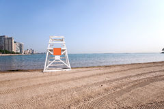 Lifeguard tower by the lake. Lifeguard tower at Ohio street beach, Chicago Royalty Free Stock Photo