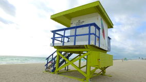 Lifeguard Tower Miami Beach first street stock footage