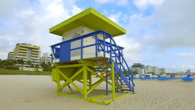 Lifeguard Tower Miami Beach first street stock video footage
