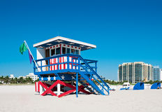 Lifeguard Tower in Miami Beach, Florida Royalty Free Stock Photos