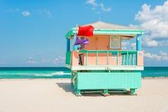 Lifeguard tower in Miami Beach Royalty Free Stock Photos