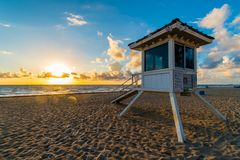 Life guard tower on Miami beach in sunrise, Florida, United States of America stock photos