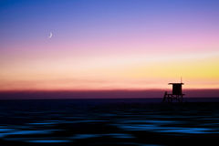 Lifeguard Tower with Moon Stock Image