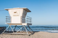 Lifeguard Tower on Moonlight Beach in Encinitas. A lifeguard tower on Moonlight Beach in Encinitas, California, located in San Diego County Royalty Free Stock Photo