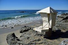 Lifeguard tower on Mountain Street Beach in South Laguna Beach, California. Royalty Free Stock Image