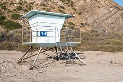Lifeguard Tower on Mugu Beach in Malibu, California. Lifeguard tower on Mugu Beach, in Malibu, California, which lies along the scenic Pacific Coast Highway Royalty Free Stock Images