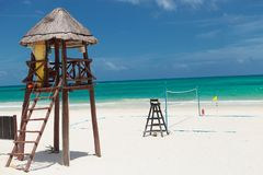 Lifeguard tower near a beach voley field. In cancun, mexico stock photography