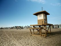 Lifeguard Tower at Newport Beach, California. A lifeguard tower on a quiet day at Newport Beach, California Stock Photo