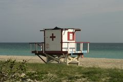 Lifeguard Tower With Ocean View Stock Images
