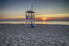 Lifeguard Tower On The Beach At Sunrise Royalty Free Stock Photos