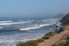 Lifeguard Tower Overlooks San Elijo State Beach Royalty Free Stock Photo