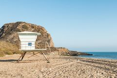 Lifeguard Tower at Point Mugu State Park in Malibu, California Royalty Free Stock Photography