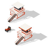 Lifeguard tower and quad bike isometric icons set Stock Photography