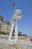Lifeguard Tower With A Red Flag On The Beach Royalty Free Stock Photos