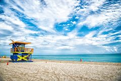 Lifeguard tower for rescue baywatch on beach in Miami, USA Stock Photos