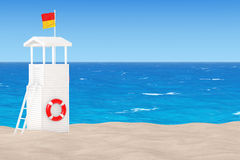 Lifeguard Tower on the Sand Sunny Beach. 3d Rendering Royalty Free Stock Photo