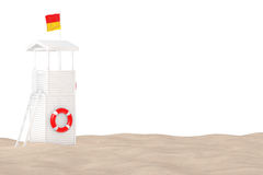 Lifeguard Tower on the Sand Sunny Beach. 3d Rendering Stock Photos