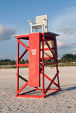 Lifeguard tower on sandy beach royalty free stock images