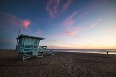 Lifeguard tower in Santa Monica at sunset Stock Photos