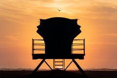 Lifeguard Tower Silhouette stock images