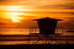 Lifeguard Tower Silhouette Royalty Free Stock Photography