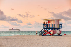 Lifeguard Tower in South Beach, Miami Beach, Florida Royalty Free Stock Images