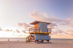 Lifeguard Tower in South Beach, Miami Beach, Florida Stock Image