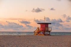 Lifeguard Tower in South Beach, Miami Beach, Florida Royalty Free Stock Image