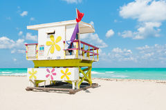 Lifeguard tower in South Beach, Miami Royalty Free Stock Photos
